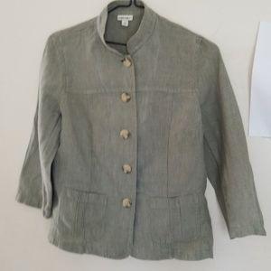 Women's Green Linen Medium Jacket